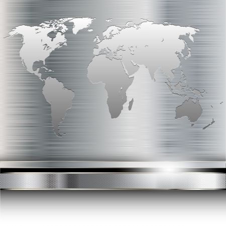 Illustration of a world map on metallic background. Vector.