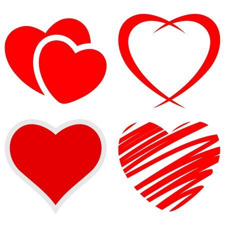 saint valentin coeur: Ensemble de coeurs rouges sur un fond blanc. Vecteur.
