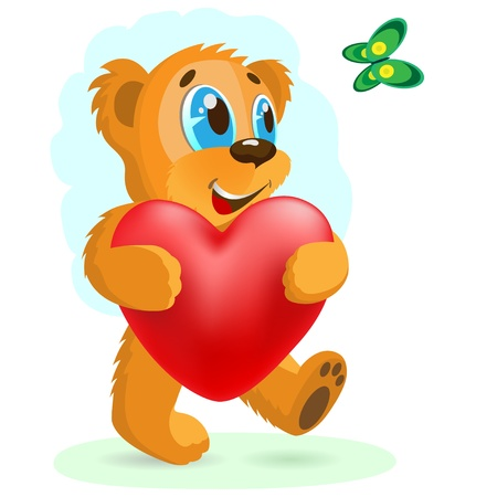 Happy bear with red heart. Vector illustration. Stock Vector - 18404845