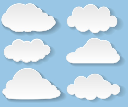 Illustration messages in the form of clouds Vectores