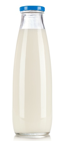 dairying: bottle of milk isolated on white background