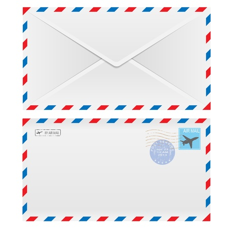 postal office: Air mail envelope with postal stamp isolated on white background.