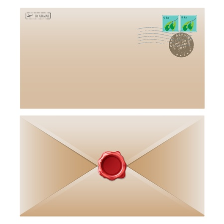 airmail: Mail envelope with postal stamp isolated on white background.