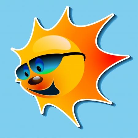 sun tanning: Illustration of the sun with a smile in the blue sky.