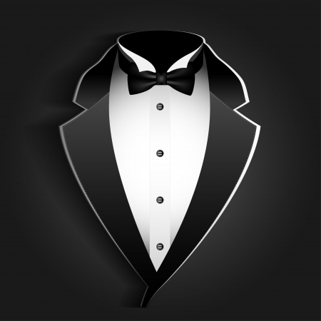 tux: Illustration of tuxedo with bow tie on a black background.