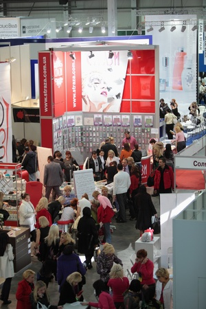 exhibition crowd: ESTET BEAUTY EXPO 2010, Kiev. Interior of large hall of exhibition. 10th International congress on the applied aesthetics and cosmetology in Ukraine. Professional measure for the hairdressers of Your Hair Event 2010. the 13th International forum of profes Editorial