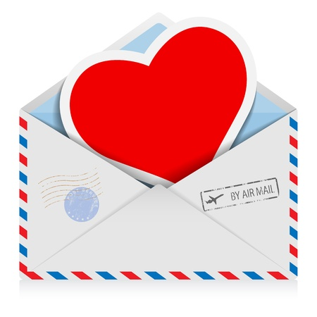 Illustration postal envelope with a heart isolated on a white background   Vector