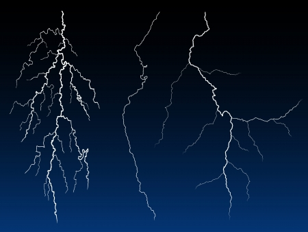 volts: Illustration of lightning strike in the darkness