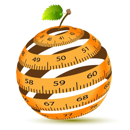 Abstract Illustration of a Tapemeasure in the Form of an Apple Vector