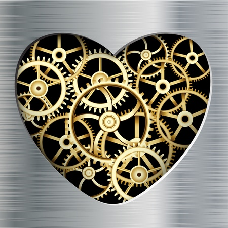 rack wheel: Illustration of Abstract Background with a Heart Metallic Element