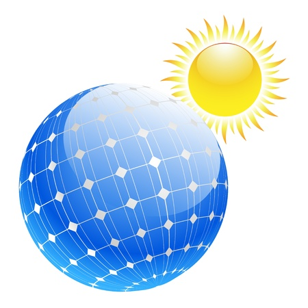 Illustration of the planet with solar panels and sun Vector
