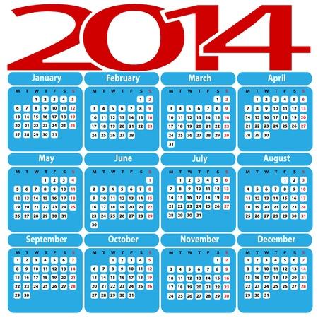 Illustration of calendar 2014 Stock Vector - 21812301