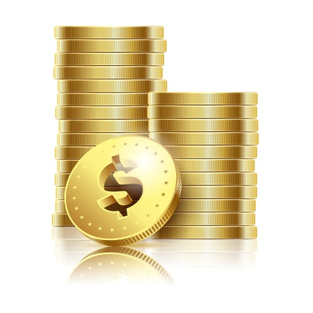 pile of cash: illustration of golden dollar coins isolated on a white background