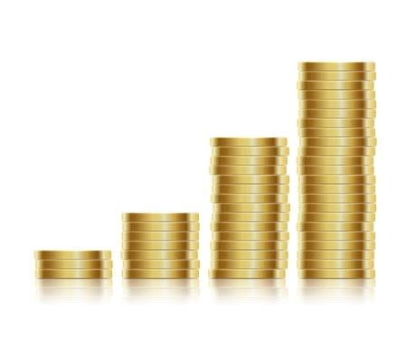 Vektor-Illustration Viele Goldmünzen isoliert auf weißem Hintergrund Illustration