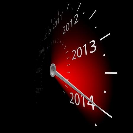 actividad econ�mica: Ilustraci�n del veloc�metro con la fecha del a�o 2014 Vector