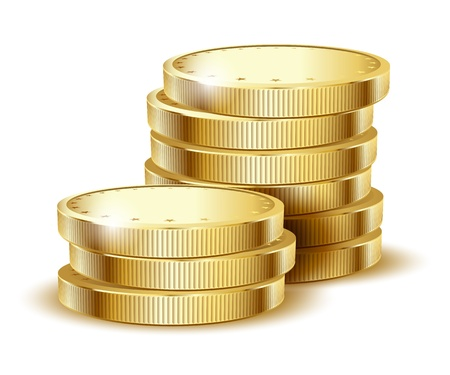 money pile: illustration of golden coins isolated on a white background   Illustration