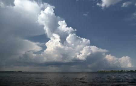 unspoilt: Image a beautiful summer river landscape  The Dnieper River, Ukraine
