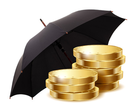 Gold coins under a black umbrella isolated on a white background. photo