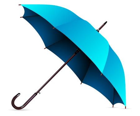 Illustration Open Blue Umbrella Isolated on a White Background