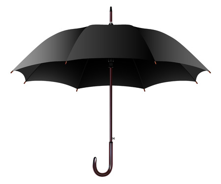 umbrella rain: Illustration Open Black Umbrella Isolated on a White Background