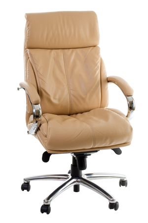 executive chair: Beige leather office chair isolated on a white background.