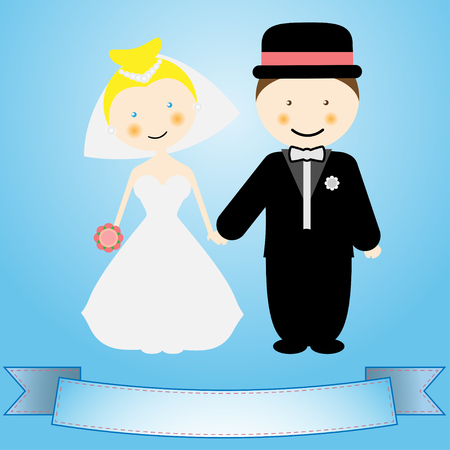 Illustration of the groom, bride and ribbon on a blue background  Vector