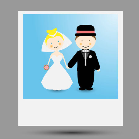 Photo illustration of a bride and groom. Vector.
