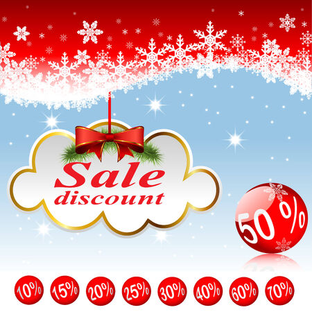 Illustration of clouds and Christmas balls. Sale, discounts. Set. Vector. Vector