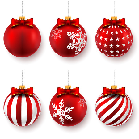 glass ball: Red christmas balls on gift bows isolated on white. Set. Vector illustration.