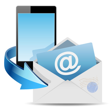 email security: Envelope email and phone on white background. Vector illustration . Illustration