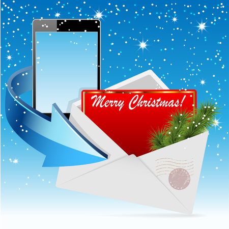 Christmas Greeting Card in Envelope end Phone on a Blue Background. Vector illustration. Vector