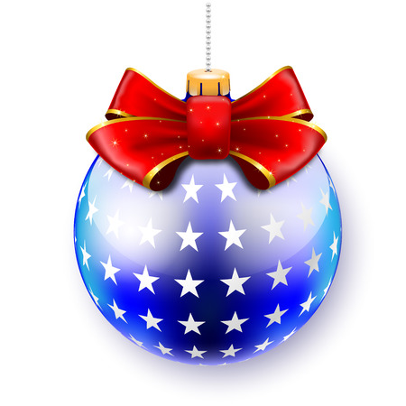 Blue Christmas Ball on gift Bows on White  Vector Illustration   Vector