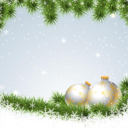albero pino: Decorazione dell'albero di pino, Natale sfondo. Illustrazione vettoriale. Vettoriali