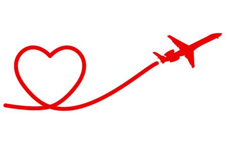 Ferien Banner Herz-und Flugzeug. Vector. Illustration.