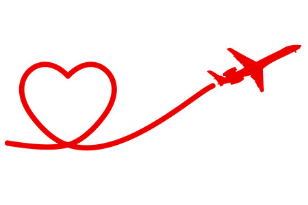 Holiday Banner Heart and Plane. Vector. Illustration. Illustration
