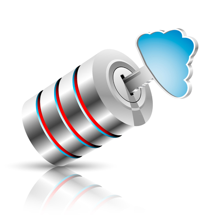 private cloud: Concept of private information base as a cloud. Vector illustration.