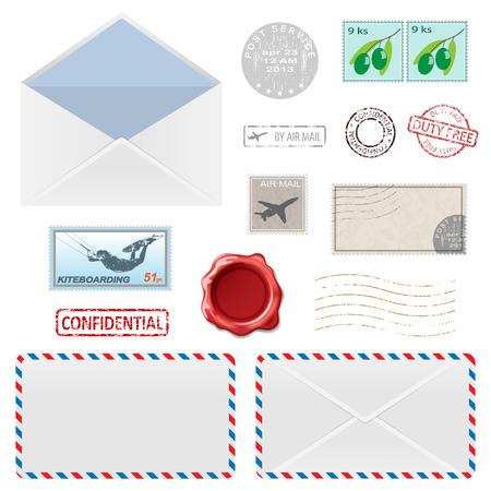 airmail: Set of Postal Business Icons, Envelopes, Stamps. Vector illustration.