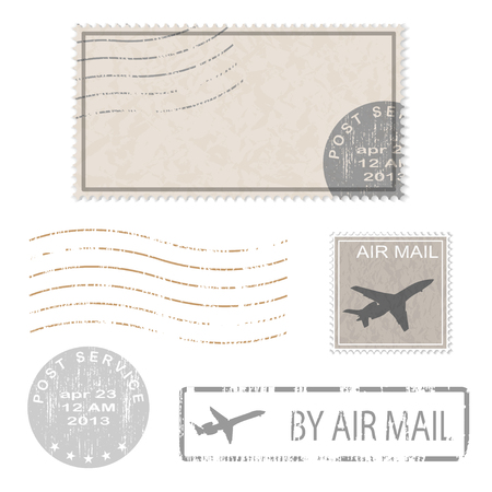 airmail stamp: Set of postal business icons, stamps. Vector illustration.
