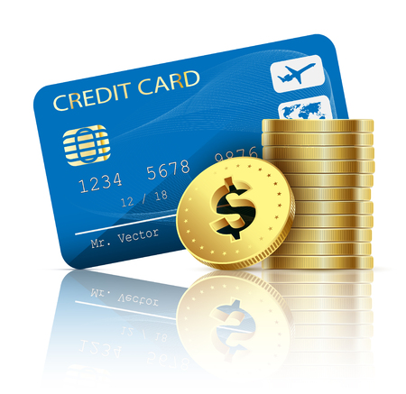 bankcard: Credit card and coins on white background. Vector illustration. Illustration