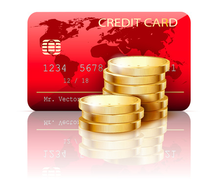 bankcard: Illustration Credit card and Coins on white background. Vector.