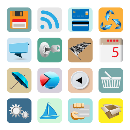 Illustration Web Icons for the Internet, Isolated on White Background. Vector Set. Vector