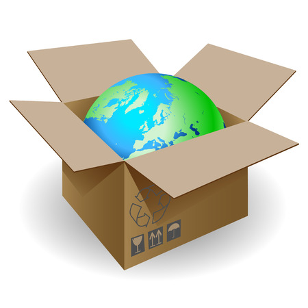 warehousing: Globe in a cardboard box on a white