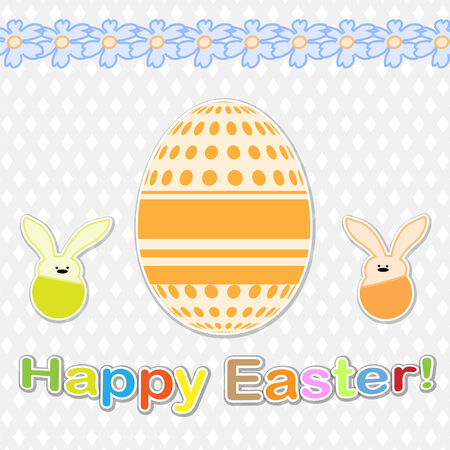 Easter Bunnies and eggs and flowers. Vector illustration. Vector