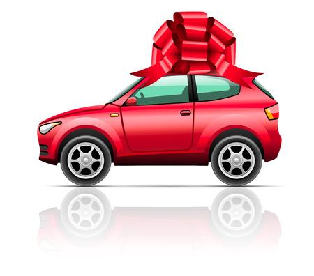 motor vehicle: Car SUV, gift isolated on white Vector illustration  Illustration