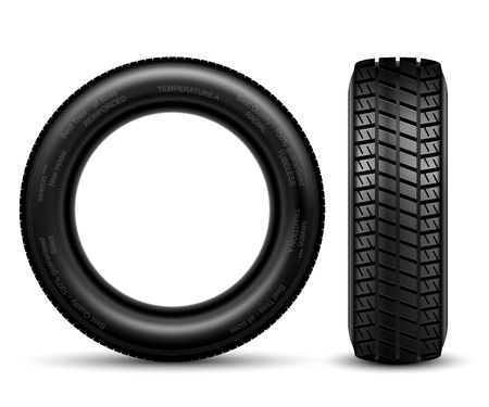 retreading: Illustration of car tire isolated on white Vector