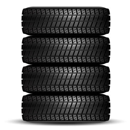 tire shop: Illustration of car tire isolated on white background  Vector