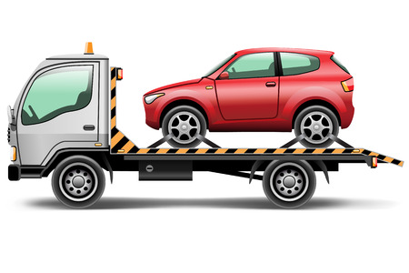car transportation: illustration tow truck loaded up the car