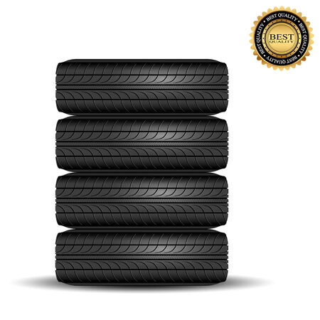 retreading: Illustration of car tire isolated on white background Illustration