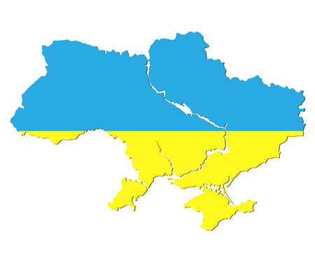 yelow: map of Ukraine in the form of flag illustration Illustration