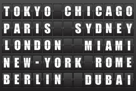 Flight destination, information display board named world cities Tokyo, Chicago, Paris, Sydney, London, New York, Berlin, Dubai, Miami, Roma  Scoreboard airport  Illustration  Vector   Vector
